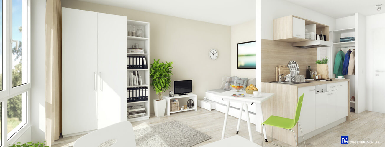 campusliving studenten apartments im sci q hamm. Black Bedroom Furniture Sets. Home Design Ideas